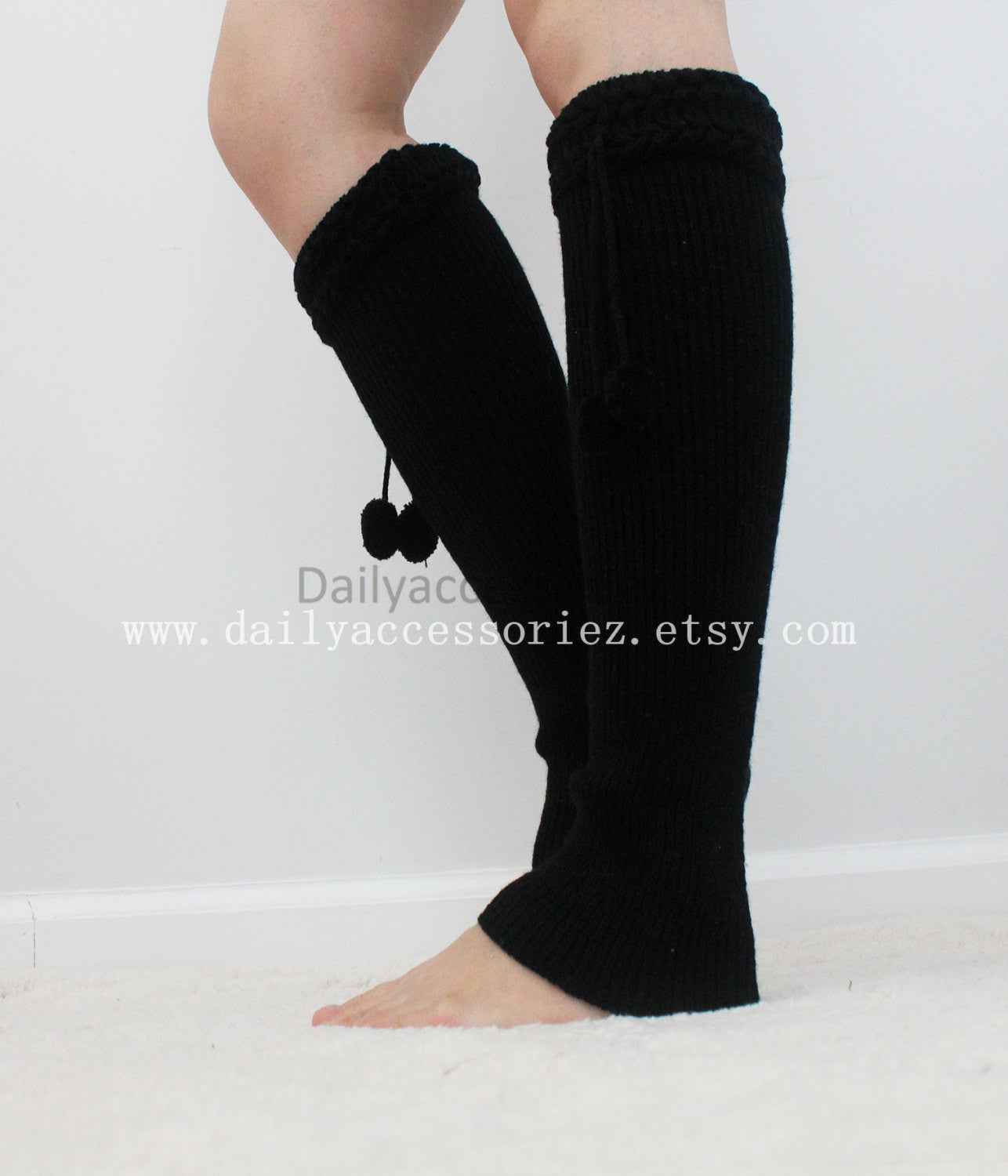 Black Pom Pom Ball Knit Leg Warmers - Bean Concept - Etsy