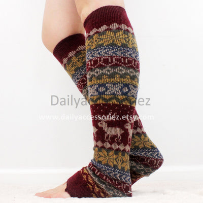 Red Christmas womens leg warmers