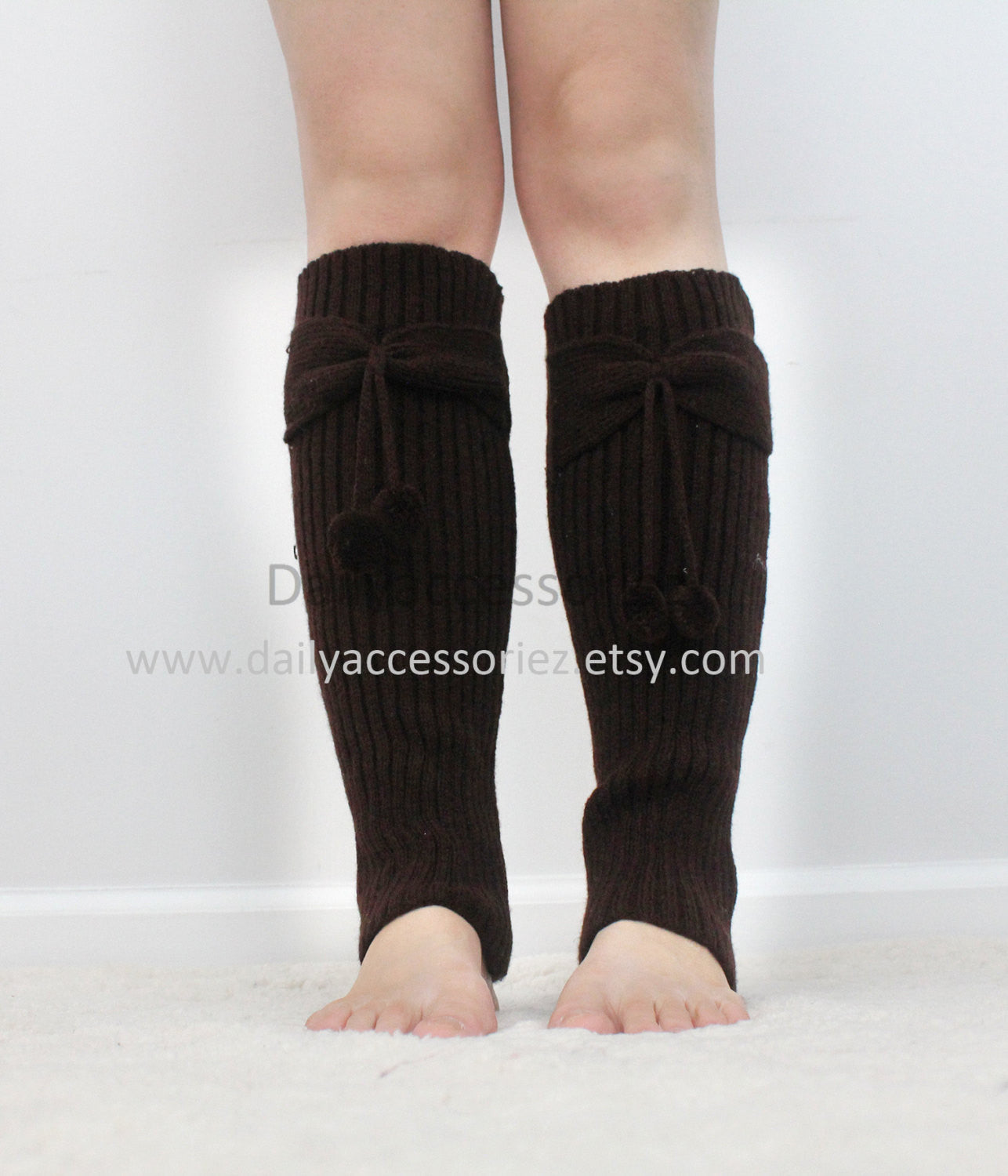Brown knit leg warmers - Bean Concept - Etsy