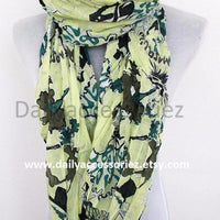 Green Floral Tassel Scarf - Bean Concept - Etsy