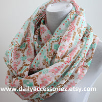 Pink and Mint Aztec Scarf - Bean Concept - Etsy