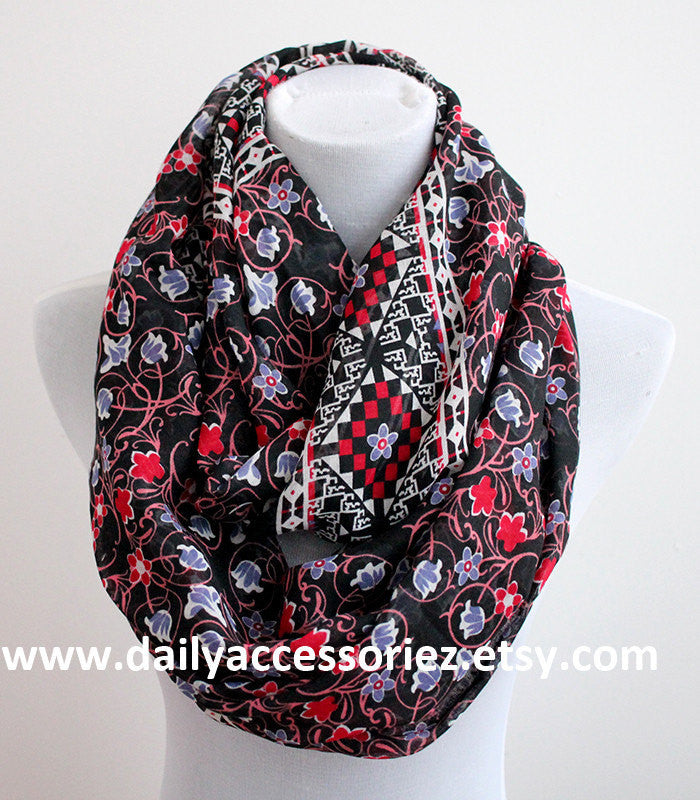 Red Aztec Floral Infinity Scarf - Bean Concept - Etsy