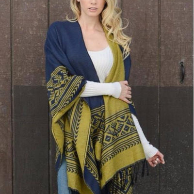 Navy and Yellow Ethic Blanket Scarf - Bean Concept - Etsy
