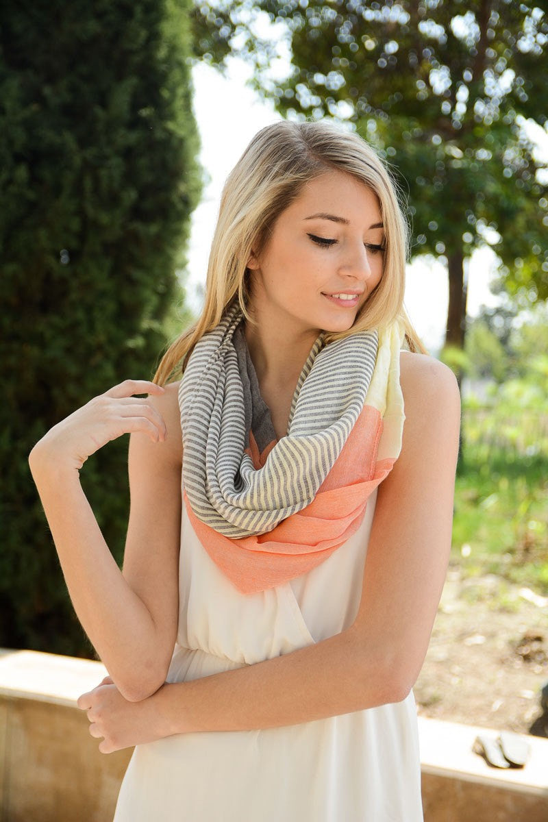 Orange Colorblock Scarf - Bean Concept - Etsy