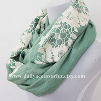 Green Lace Floral Infinity Scarf - Bean Concept - Etsy