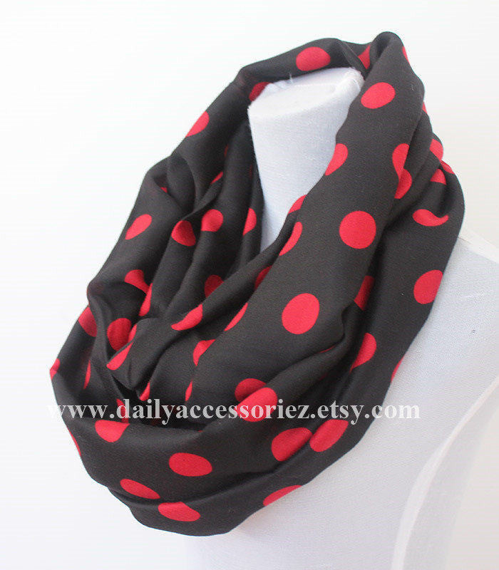 Polka Dot Red and Black Scarf - Bean Concept - Etsy