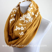 White Flower Embroidered Infinity Scarf - Bean Concept - Etsy