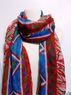Red Aztec Infinity Scarf - Bean Concept - Etsy