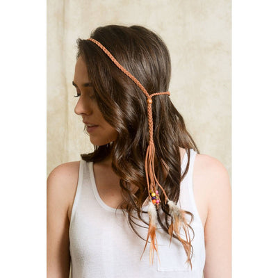Leather Feather Headband