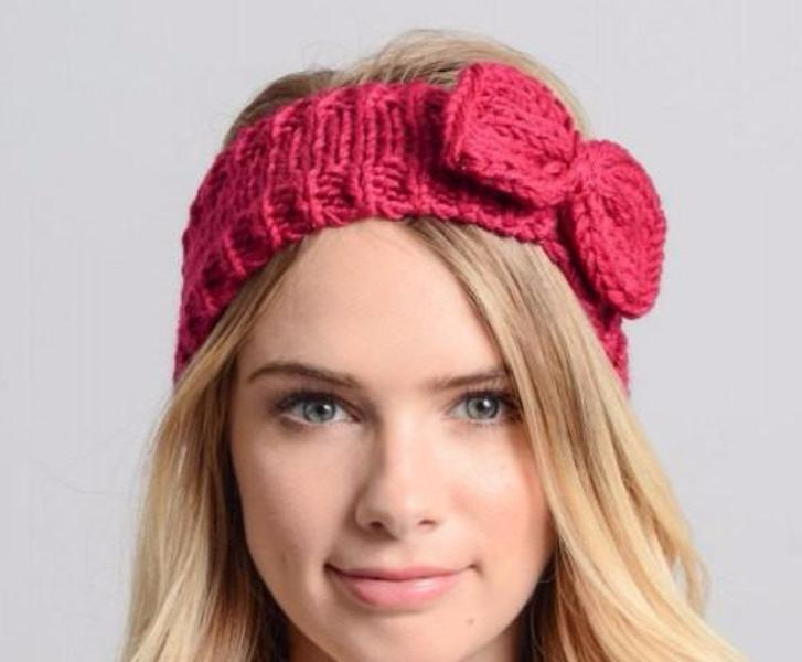 Bow Winter Knit Headband - Bean Concept - Etsy