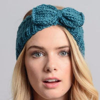 Turquoise Bow Winter Knit Headband - Bean Concept - Etsy