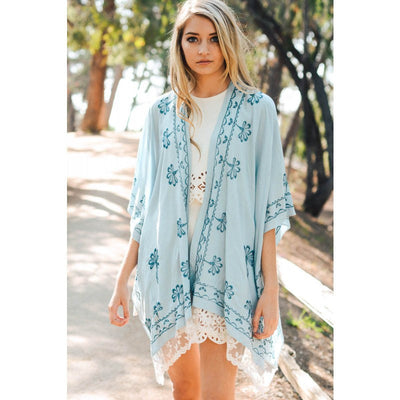 Blue Floral Embroidered Lace Trim Kimono - Bean Concept - Etsy