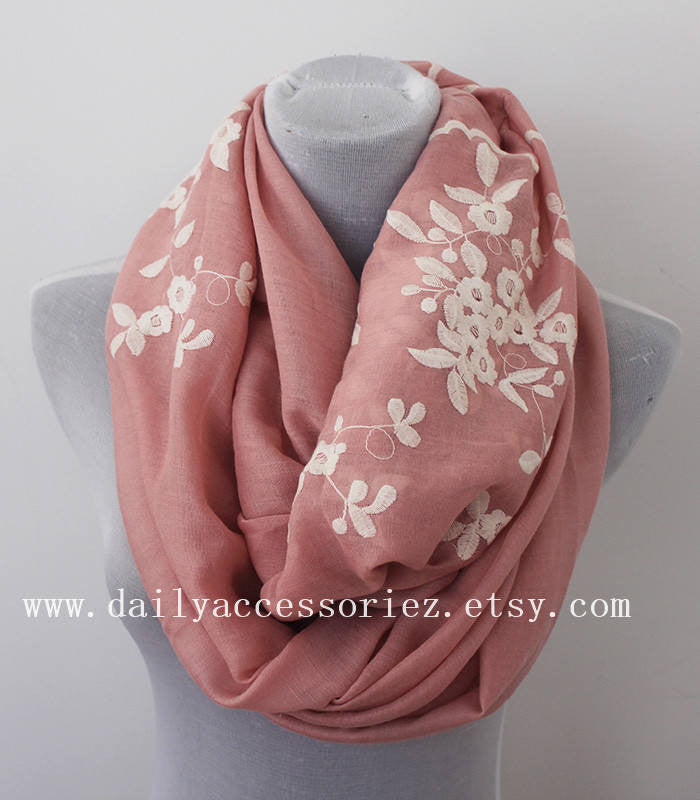 Pink Flower Scarf - Bean Concept - Etsy