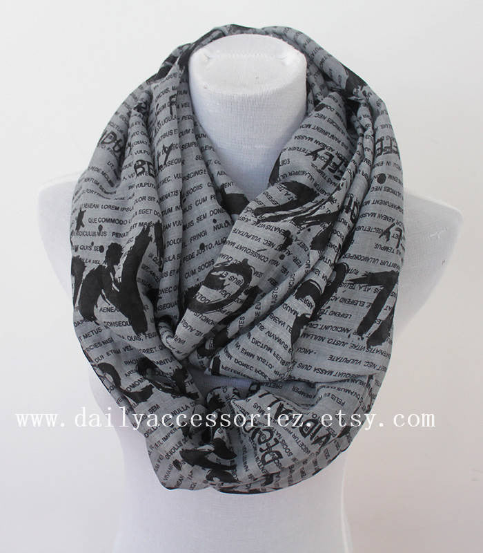 Gray Letter Infinity Scarf - Bean Concept - Etsy