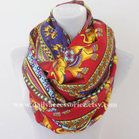 Red Bohemia Elephant Infinity Scarf - Bean Concept - Etsy