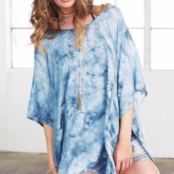 Blue Tie-Dye Beach Kimono Cover Up
