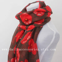 Red Poppy White Scarf - Bean Concept - Etsy