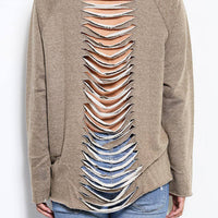 gray sweatshirt with cutout back - Bean Concept - Etsy