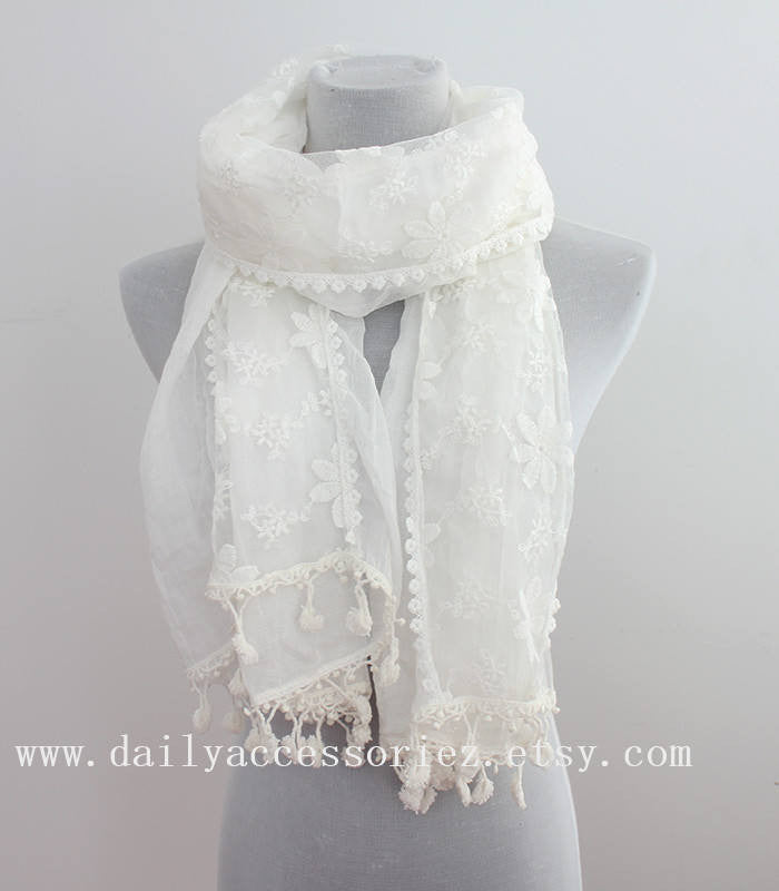 White Lace Infinity Scarf - Bean Concept - Etsy
