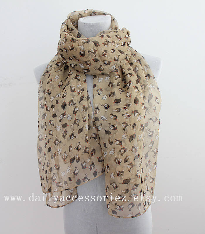 Brown Birds Infinity Scarf - Bean Concept - Etsy