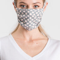 Gray Cotton Face Mask with little baseball prints