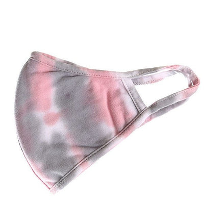 Gray Pink Tie Dye Face Mask