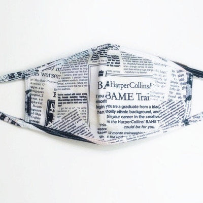 Magazine Print face mask with self tie straps