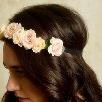 pink flower crown wedding