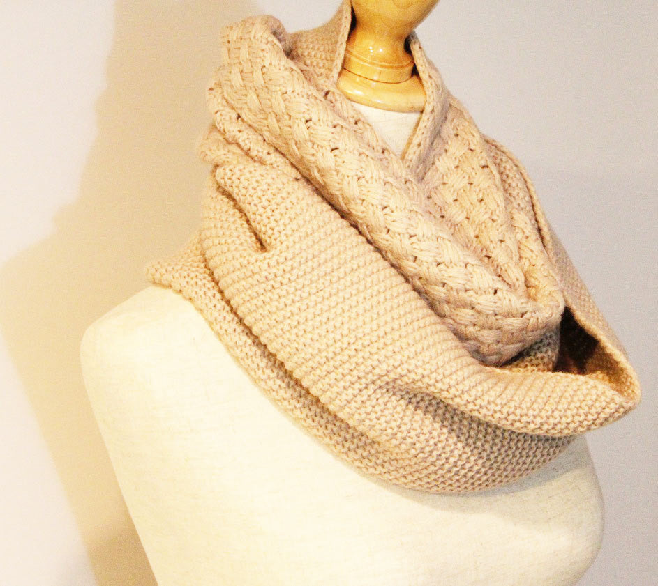 Winter Cable Knitted Infinity Scarf - Bean Concept - Etsy