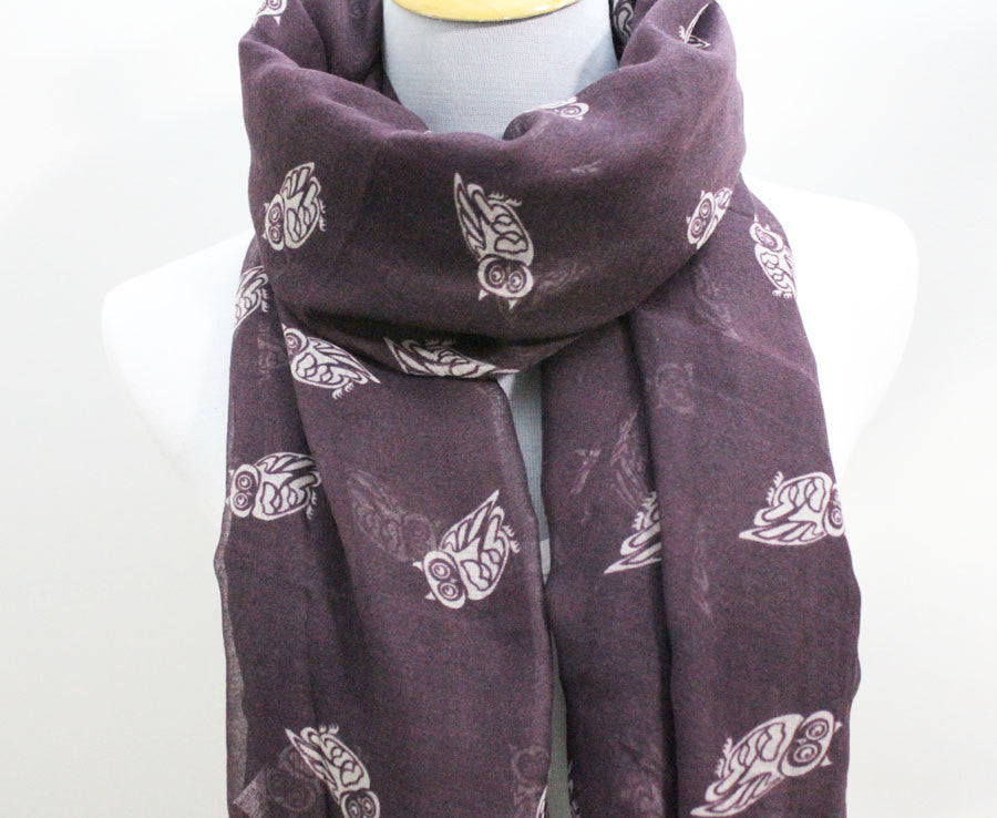 Purple Owl Scarf - Bean Concept - Etsy