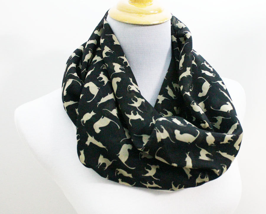 Black Cat Chiffon Infinity Scarf - Bean Concept - Etsy