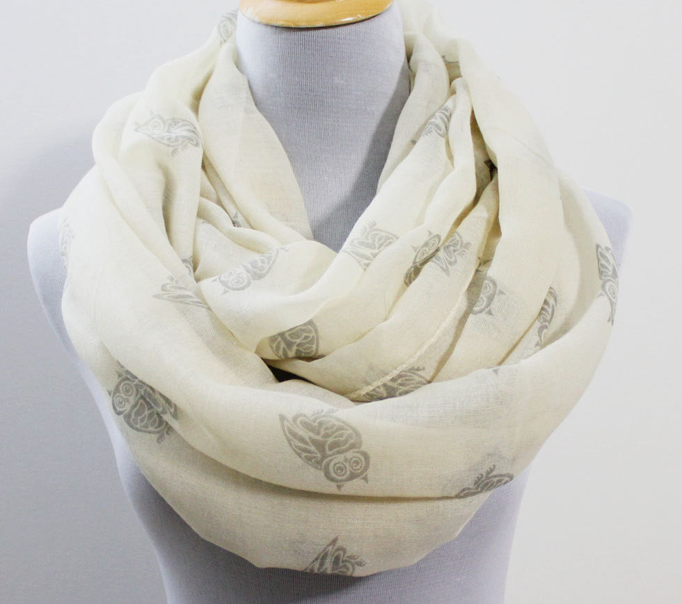 Light Beige Owl Infinity Scarf - Bean Concept - Etsy