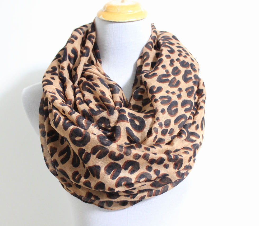 Brown Leopard Infinity Scarf - Bean Concept - Etsy