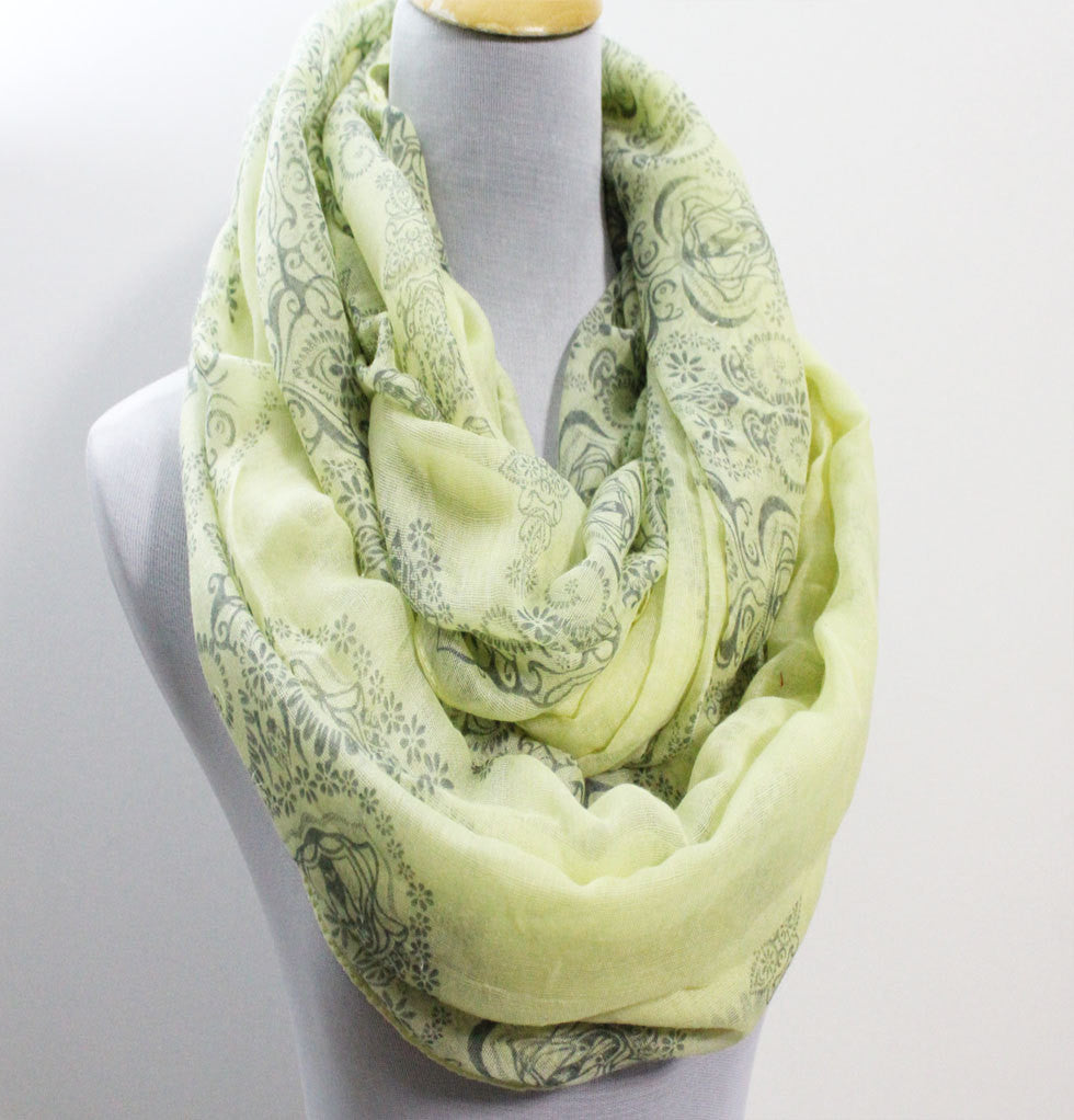 Yellow Paisley Infinity Scarf - Bean Concept - Etsy