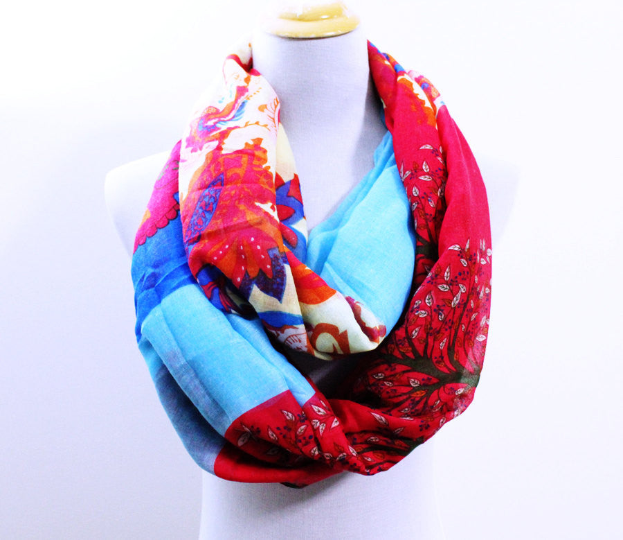 Blue and Red Skull Infinity Scarf with Tree Print - Bean Concept - Etsy