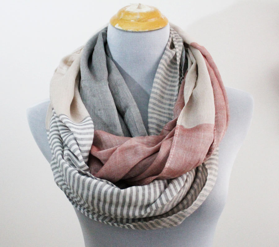 Gray Striped Infinity scarf - Bean Concept - Etsy