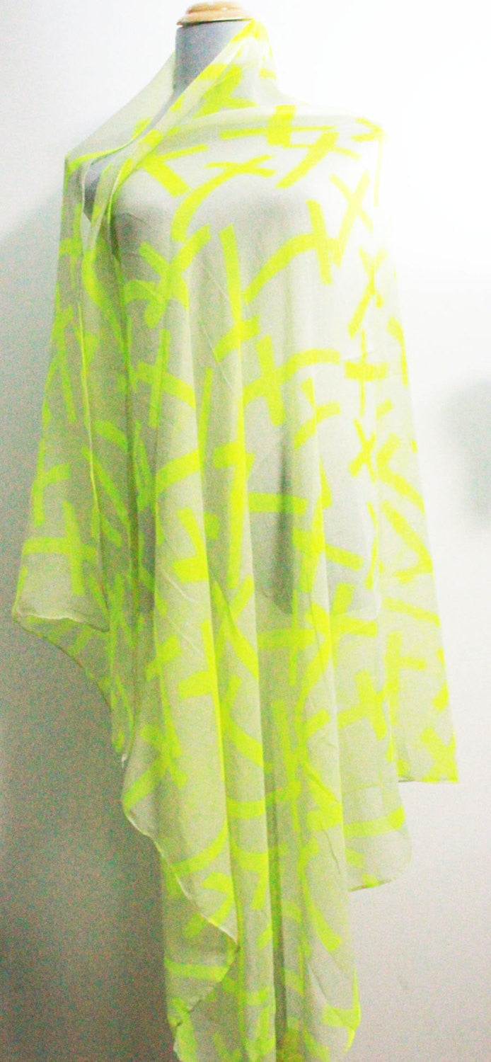 Neon Yellow Cross Scarf - Bean Concept - Etsy