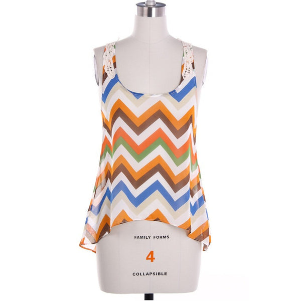Summer Chevron Print Tank Top with Lace Trim