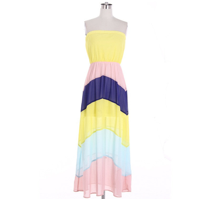 Strapless Colorblock Maxi Dress - Bean Concept - Etsy