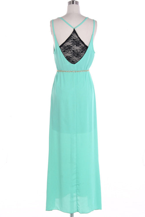 Mint Maxi Dress with Lace and Golden Chain - Bean Concept - Etsy