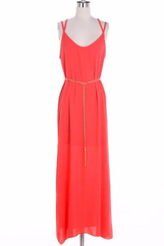 Coral Maxi Dress with Lace and Golden Chain - Bean Concept