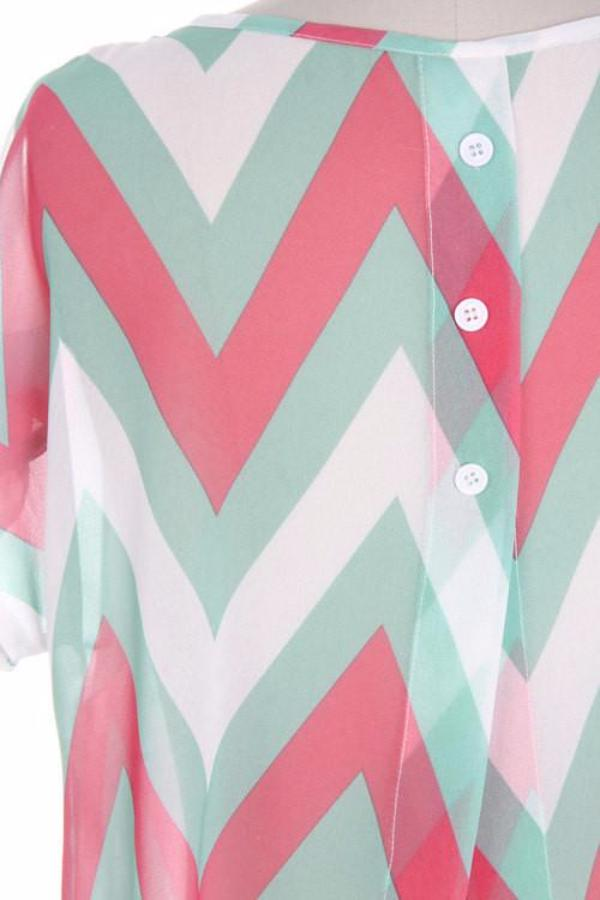 Soft Chevron Shirt With Back Buttons - Bean Concept - Etsy