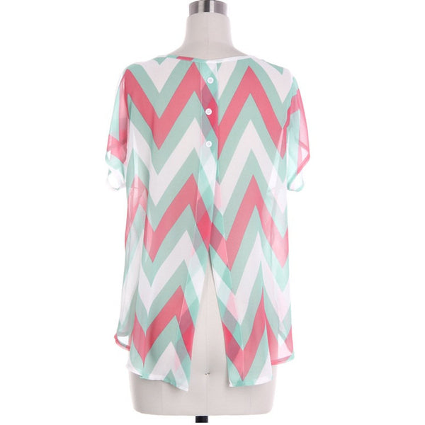 Soft Chevron Shirt With Back Buttons