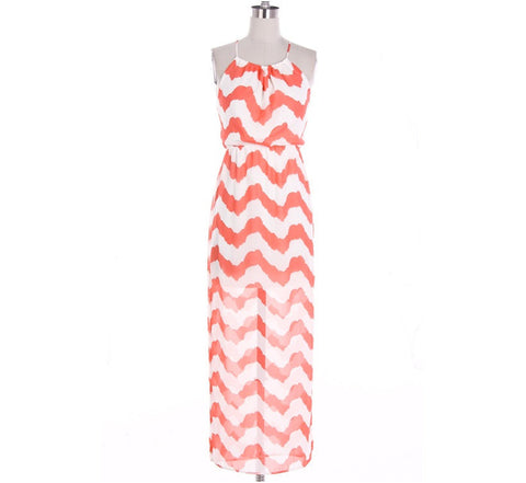 Coral Chevron Maxi Dress with Cross Strapes - Bean Concept