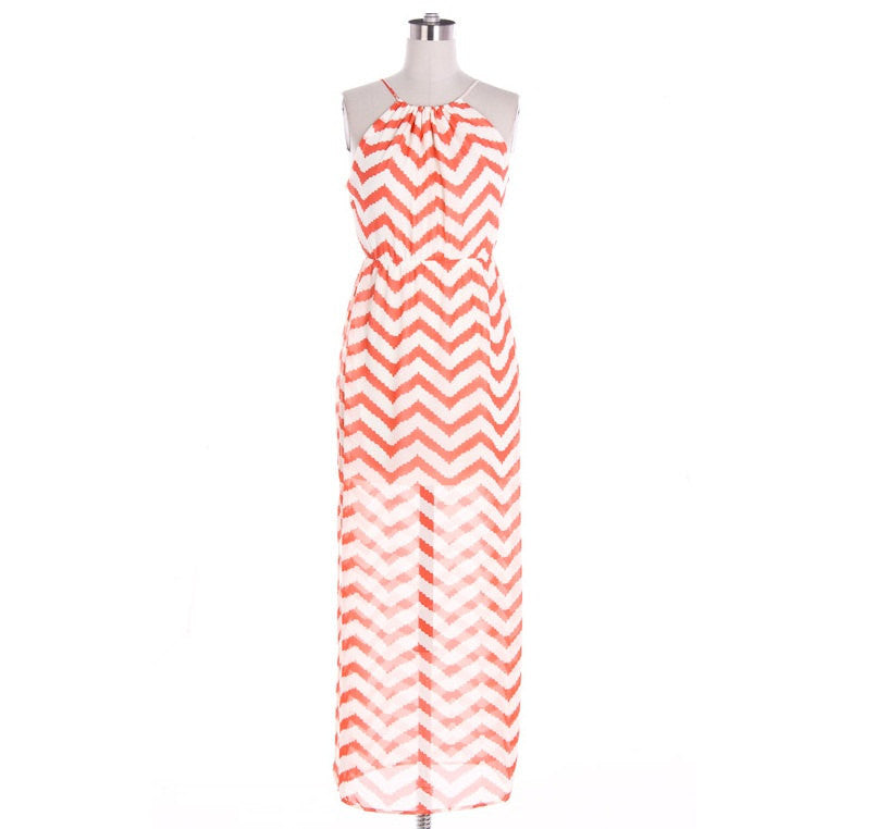 Coral Chevron Open Back Maxi Dress - Bean Concept - Etsy