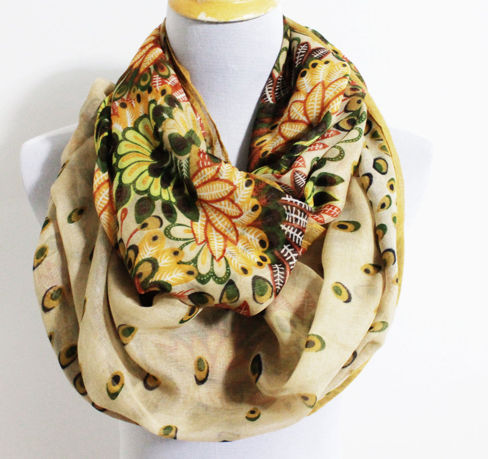Tan Brown Flower Infinity Scarf - Bean Concept - Etsy