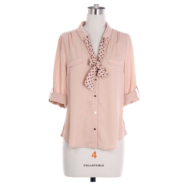 Peach Blouse with Polka Dot Tie and Button Sleeves