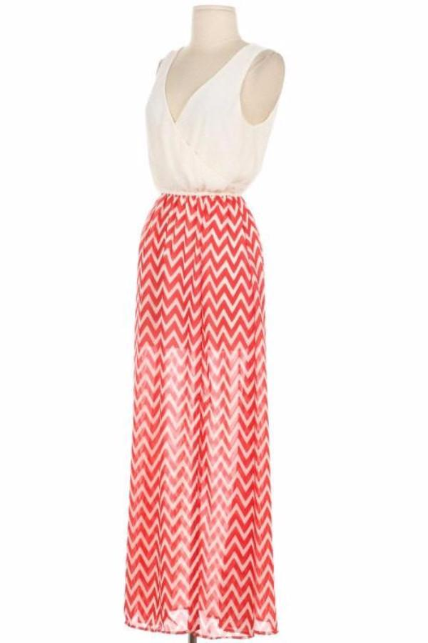 Coral Chevron Maxi Dress - Bean Concept - Etsy