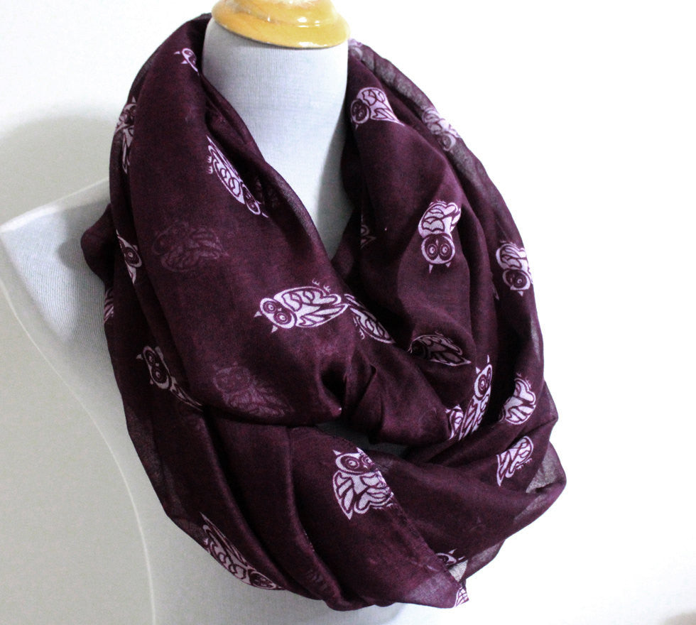 Purple Owl Infinity Scarf - Bean Concept - Etsy