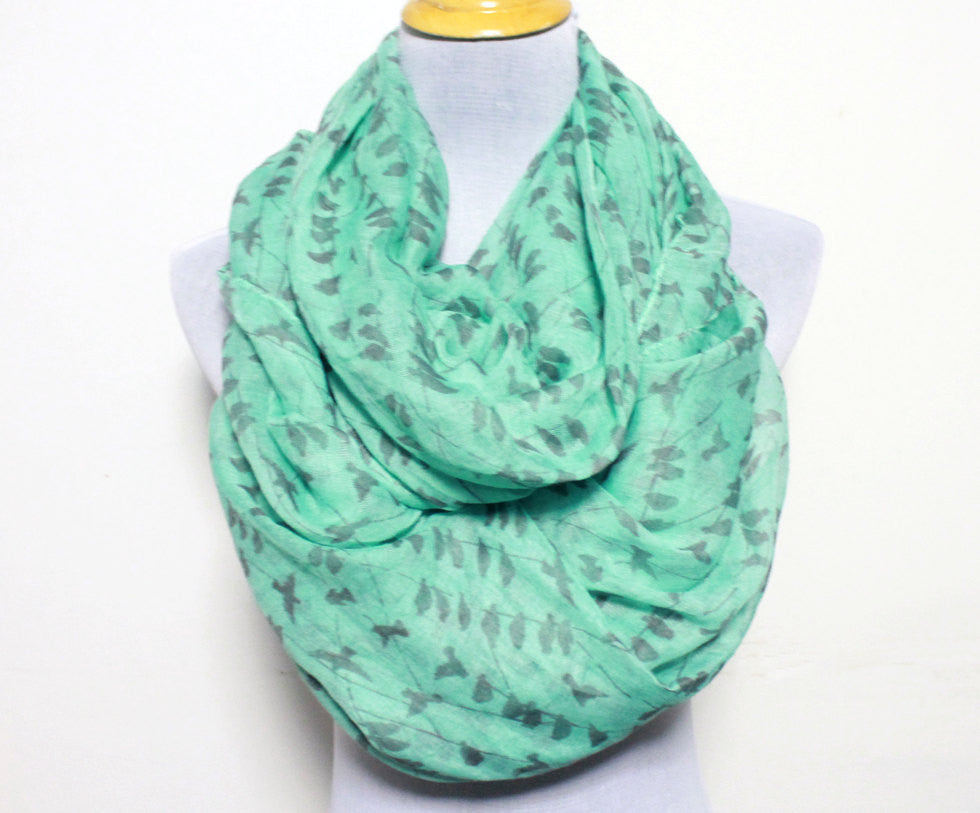 Mint Green Bird on Branch Infinity Scarf - Bean Concept - Etsy